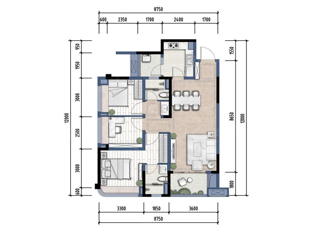 贵阳融创城3室2厅2卫户型图