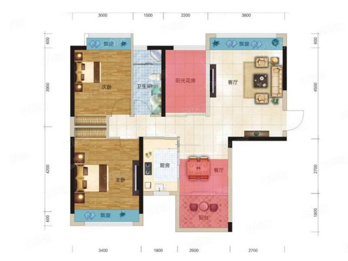 奥园阳光一号3室2厅1卫户型图