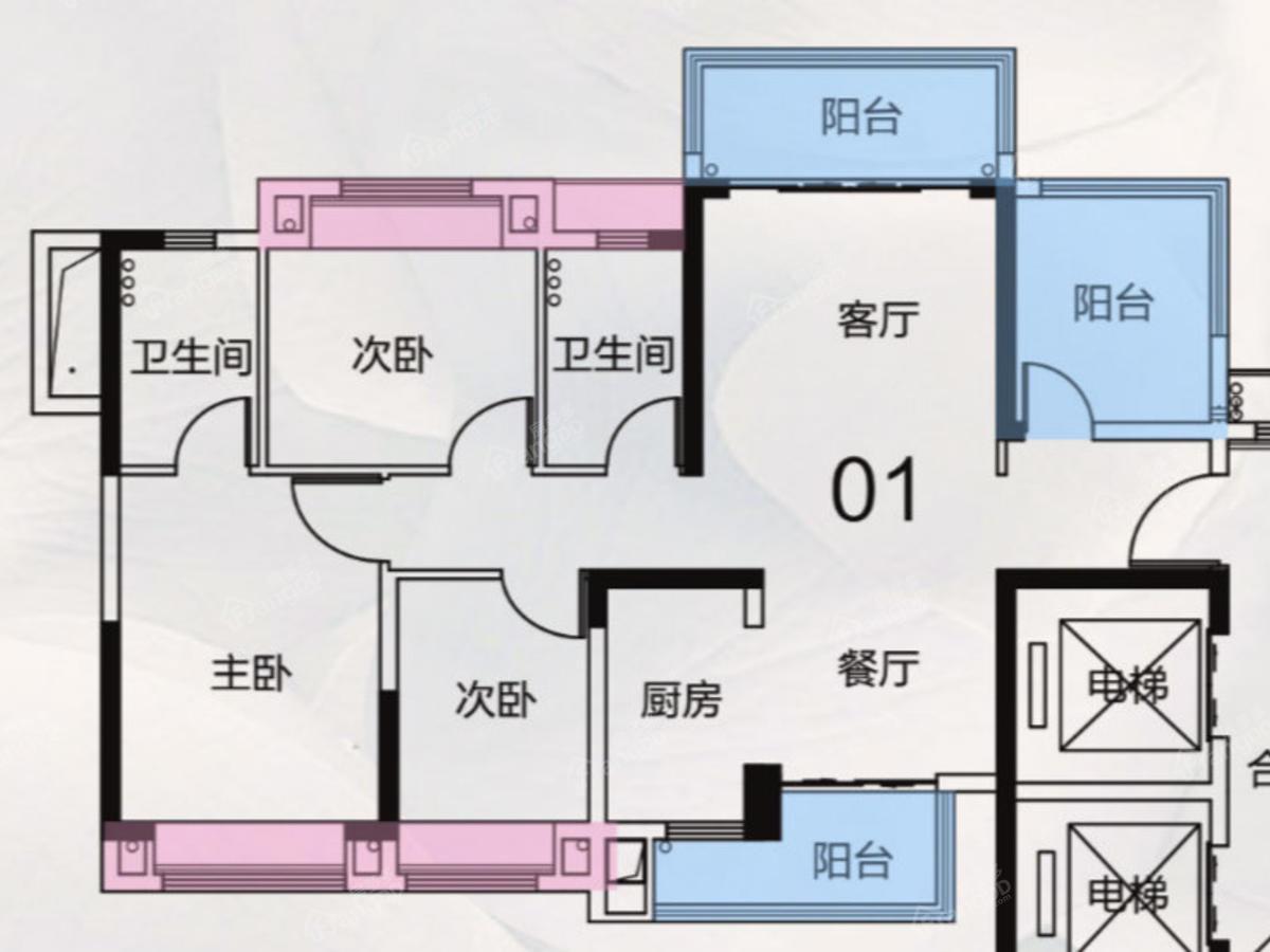 敏捷·珑玥台3室2厅2卫户型图