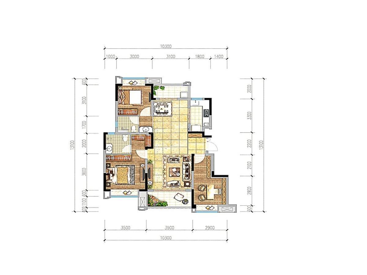蓝光·雍锦府3室2厅2卫户型图