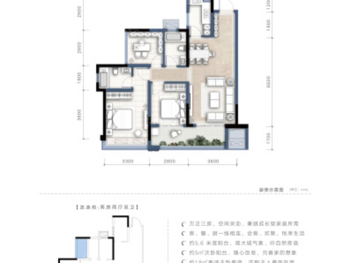 金科集美东方3室2厅2卫户型图