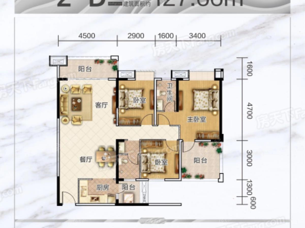 海慧春天国际社区3室2厅2卫户型图