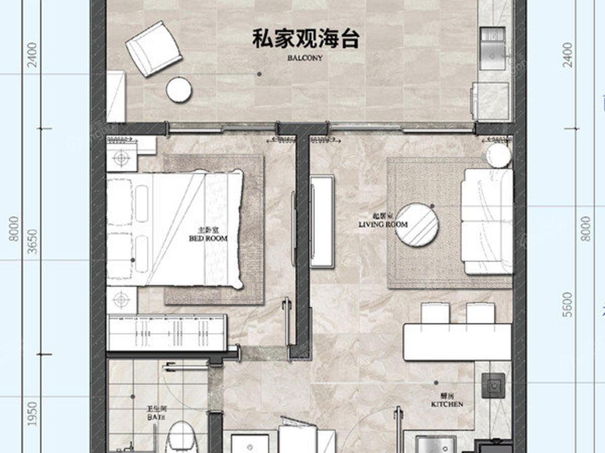 荣盛山湖海1室2厅1卫户型图