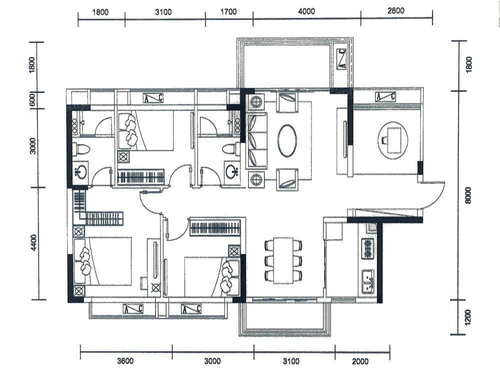 金科·中泰天境4室2厅2卫户型图