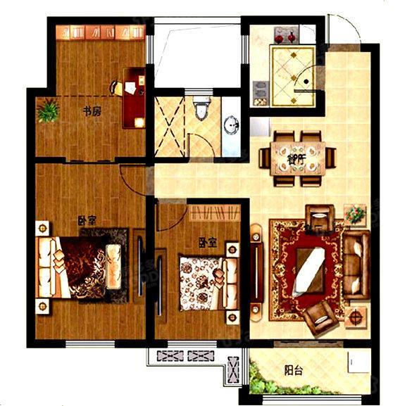 孔望尚府3室2厅1卫户型图