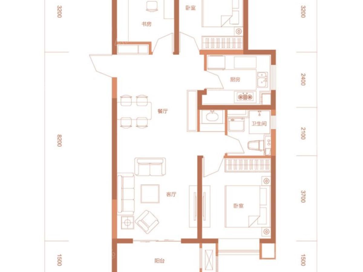 中正·九号3室2厅1卫户型图