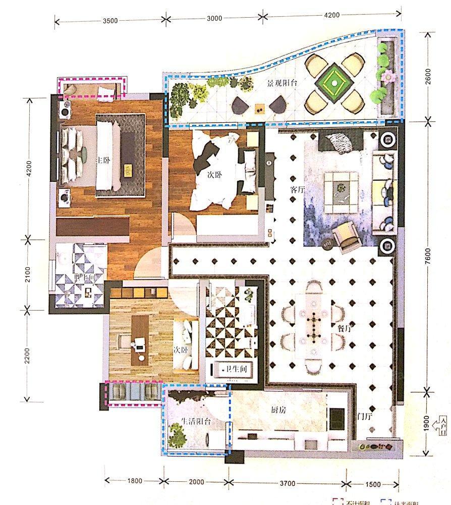 国林春天3室2厅2卫户型图