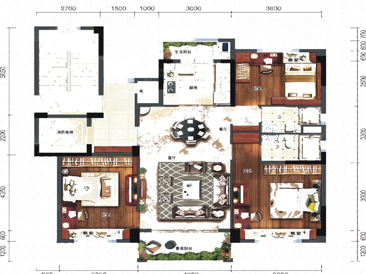 碧桂园西南上城3室2厅2卫户型图