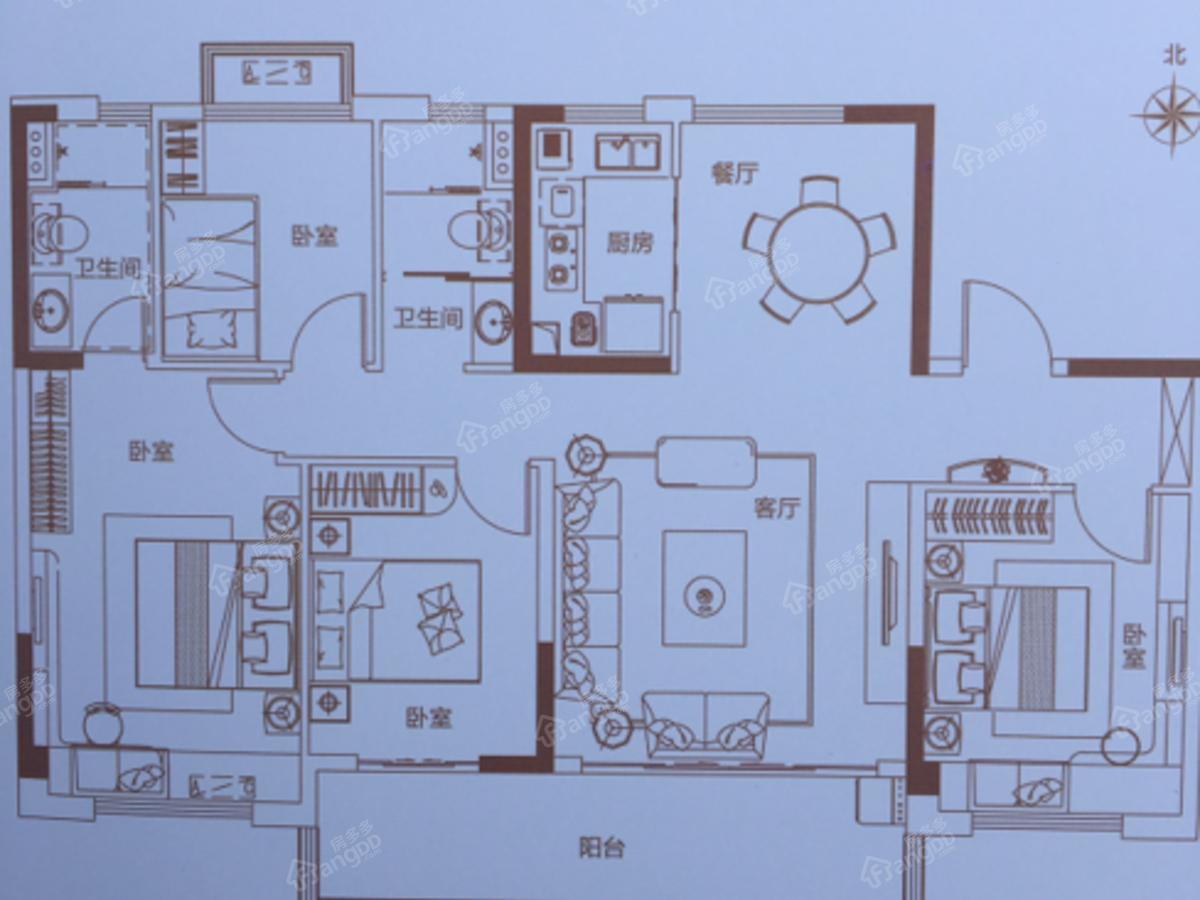 碧桂园天麓府4室2厅2卫户型图