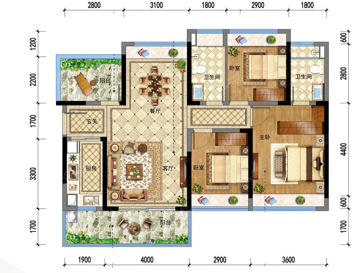 龙光玖龙府3室2厅2卫户型图