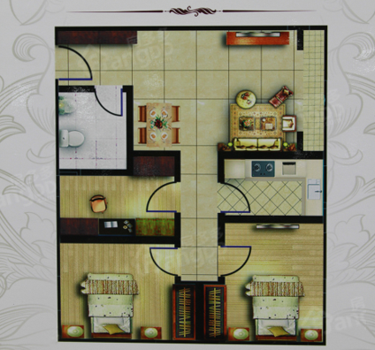 光明水岸3室2厅1卫户型图