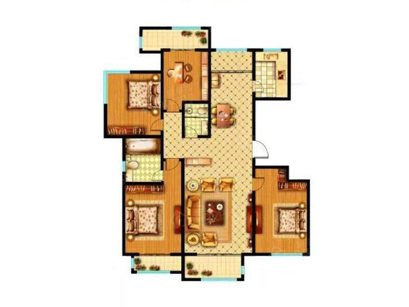 美林山4室2厅2卫户型图