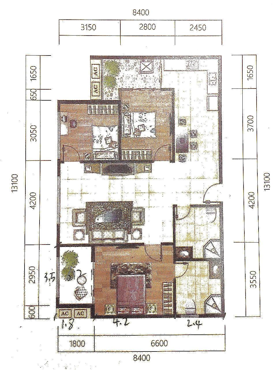 名门国际3室2厅2卫户型图