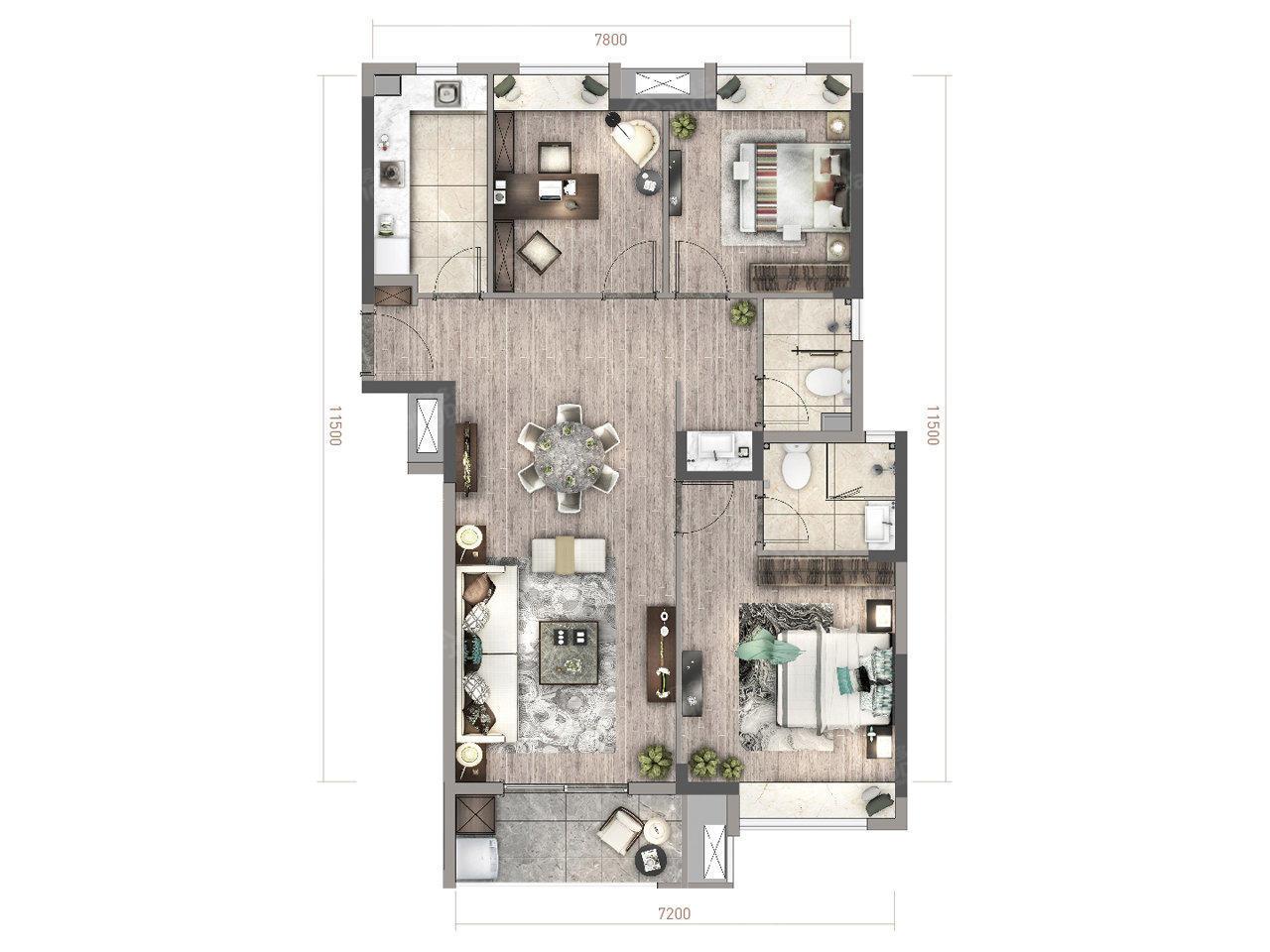 绿地梓湾国际康养度假区3室1厅2卫户型图