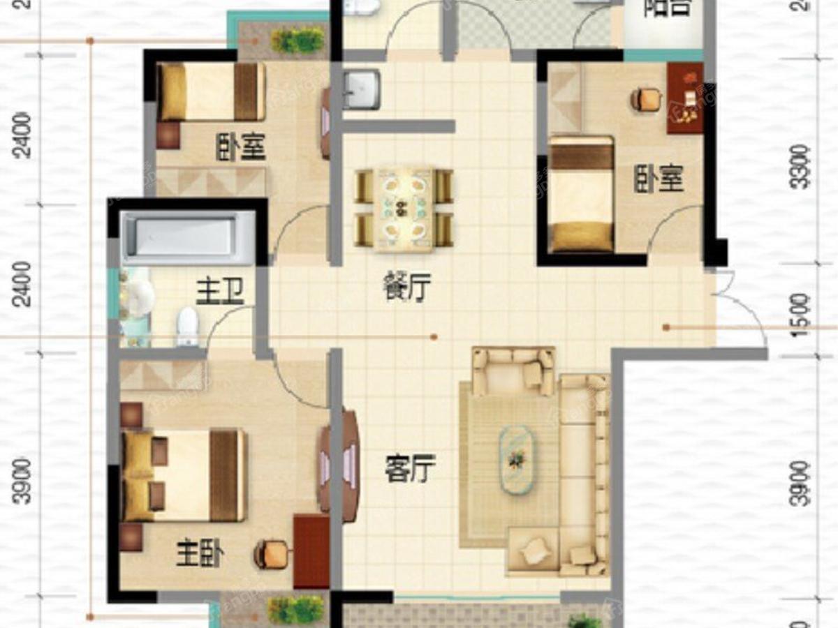 盛世和园3室2厅2卫户型图
