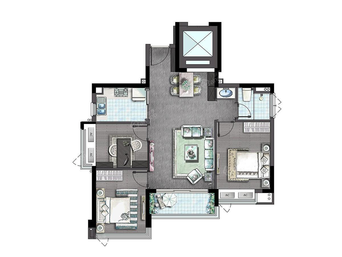 万科世茂溪望3室2厅1卫户型图