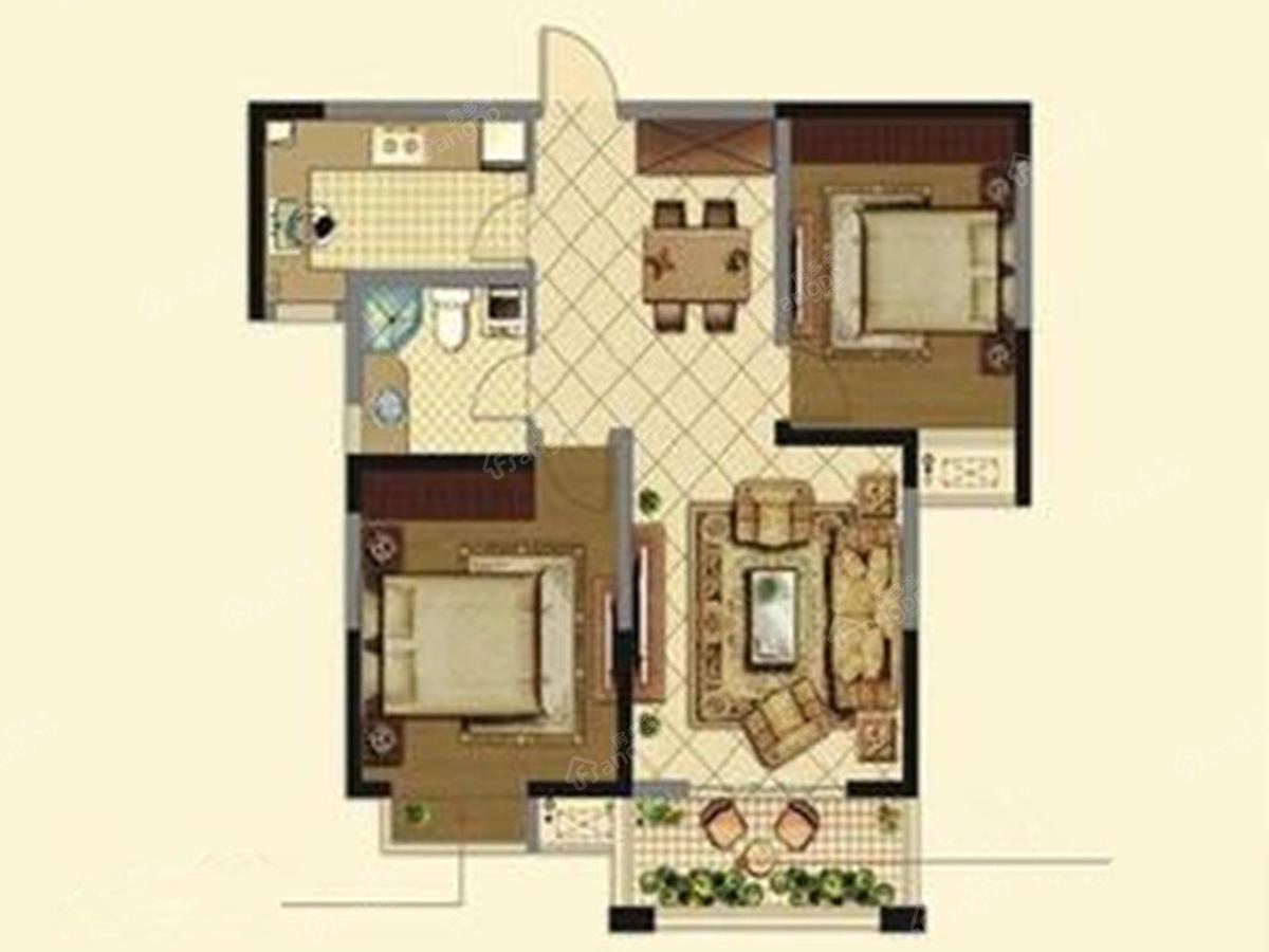 鸿基万和城2室2厅1卫户型图