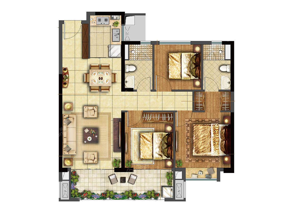 晋江云城3室2厅2卫户型图