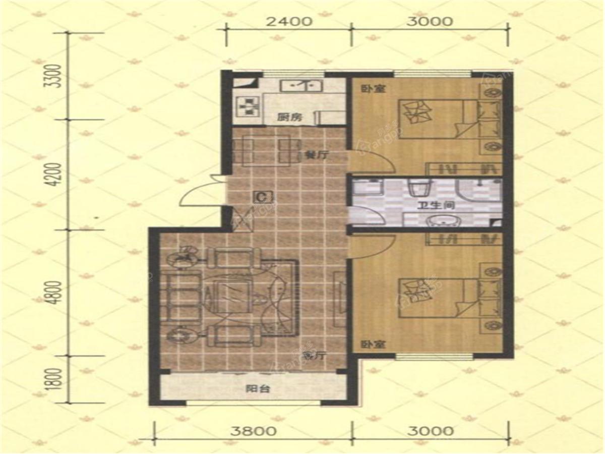 万豪·国际花园2室1厅1卫户型图