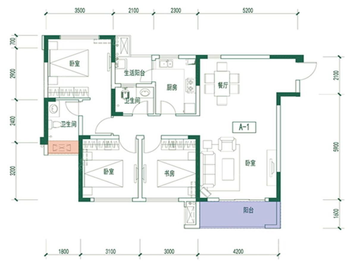 绿城水街3室2厅2卫户型图