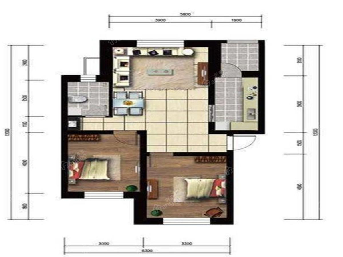 罗马太阳城2室2厅1卫户型图