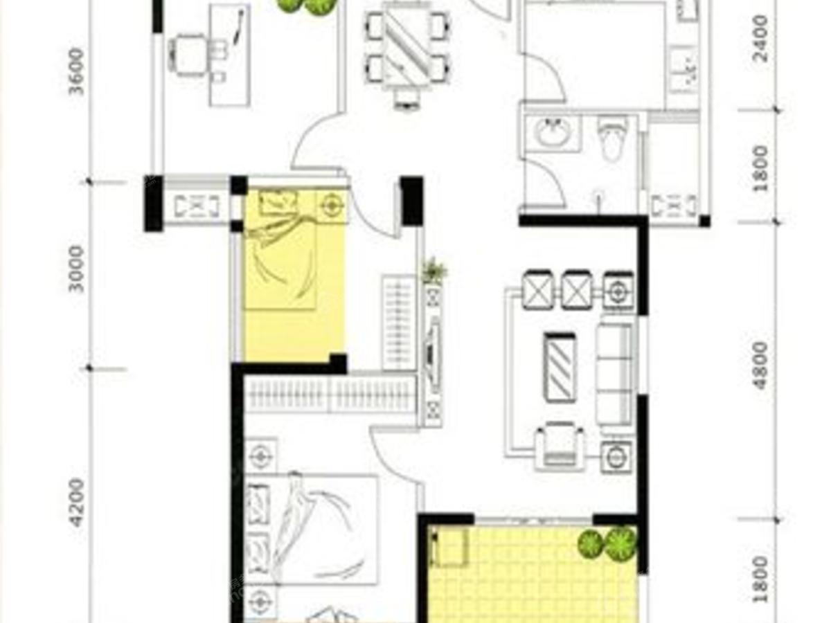 瑞都山水御园2室2厅1卫户型图