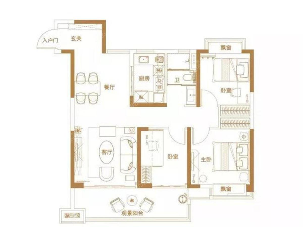 碧桂园都荟3室2厅1卫户型图