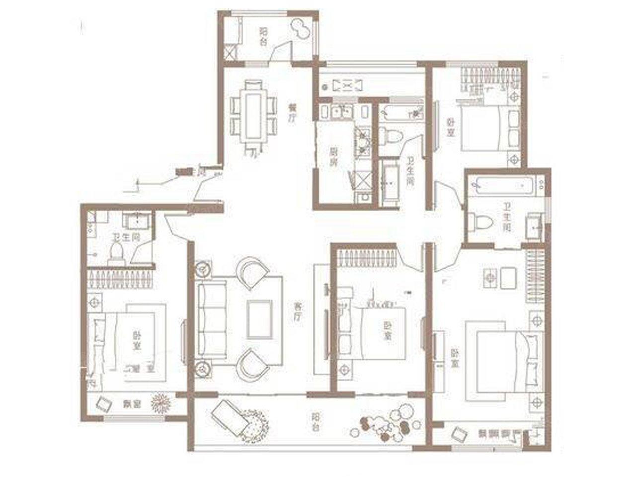建业·世和府4室2厅3卫户型图
