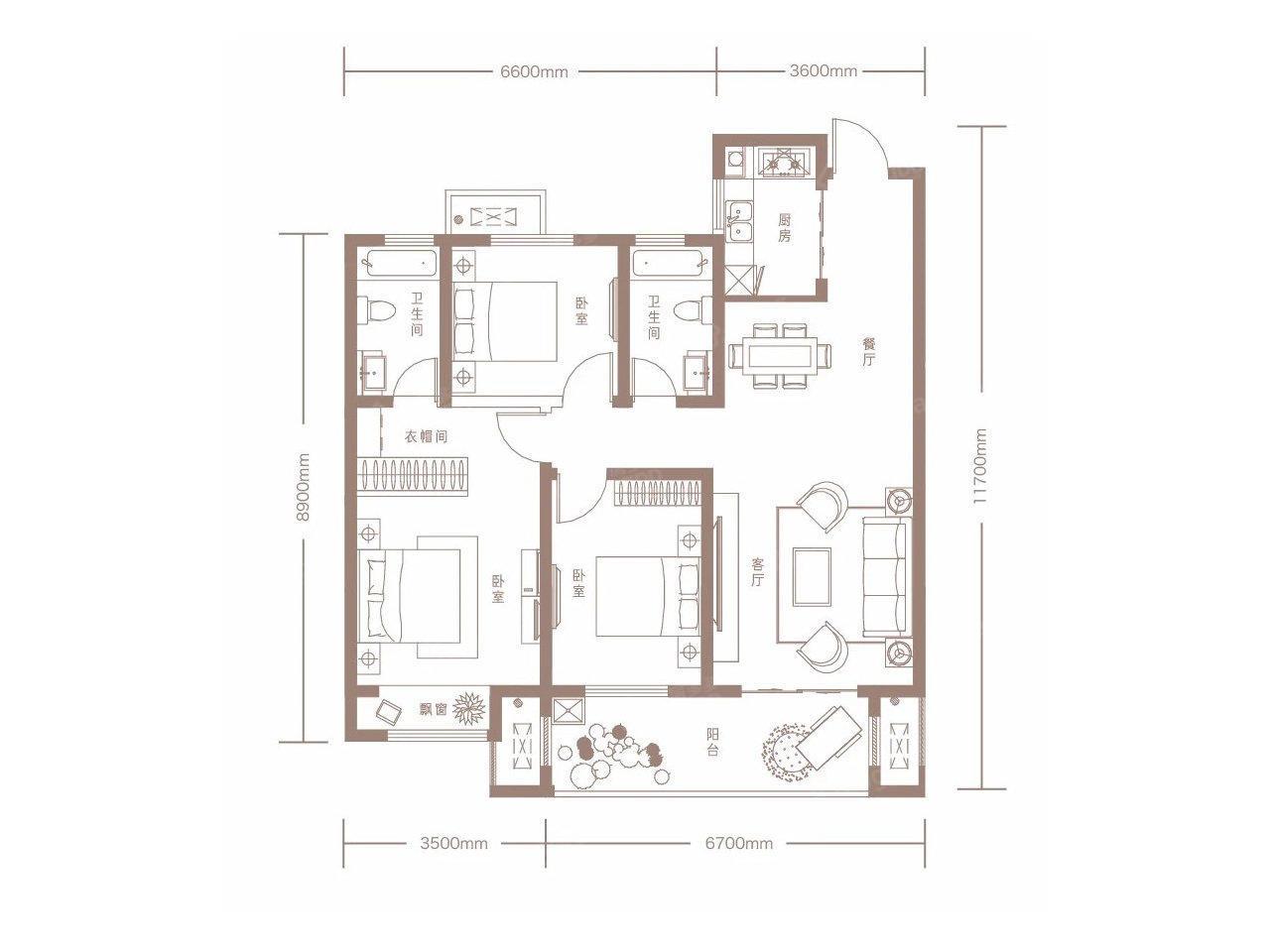 建业·世和府3室2厅2卫户型图