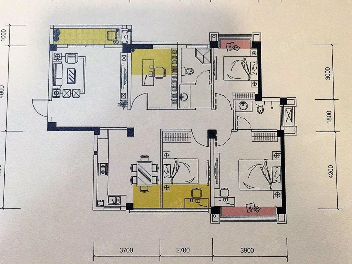 瑞都山水御园3室2厅2卫户型图