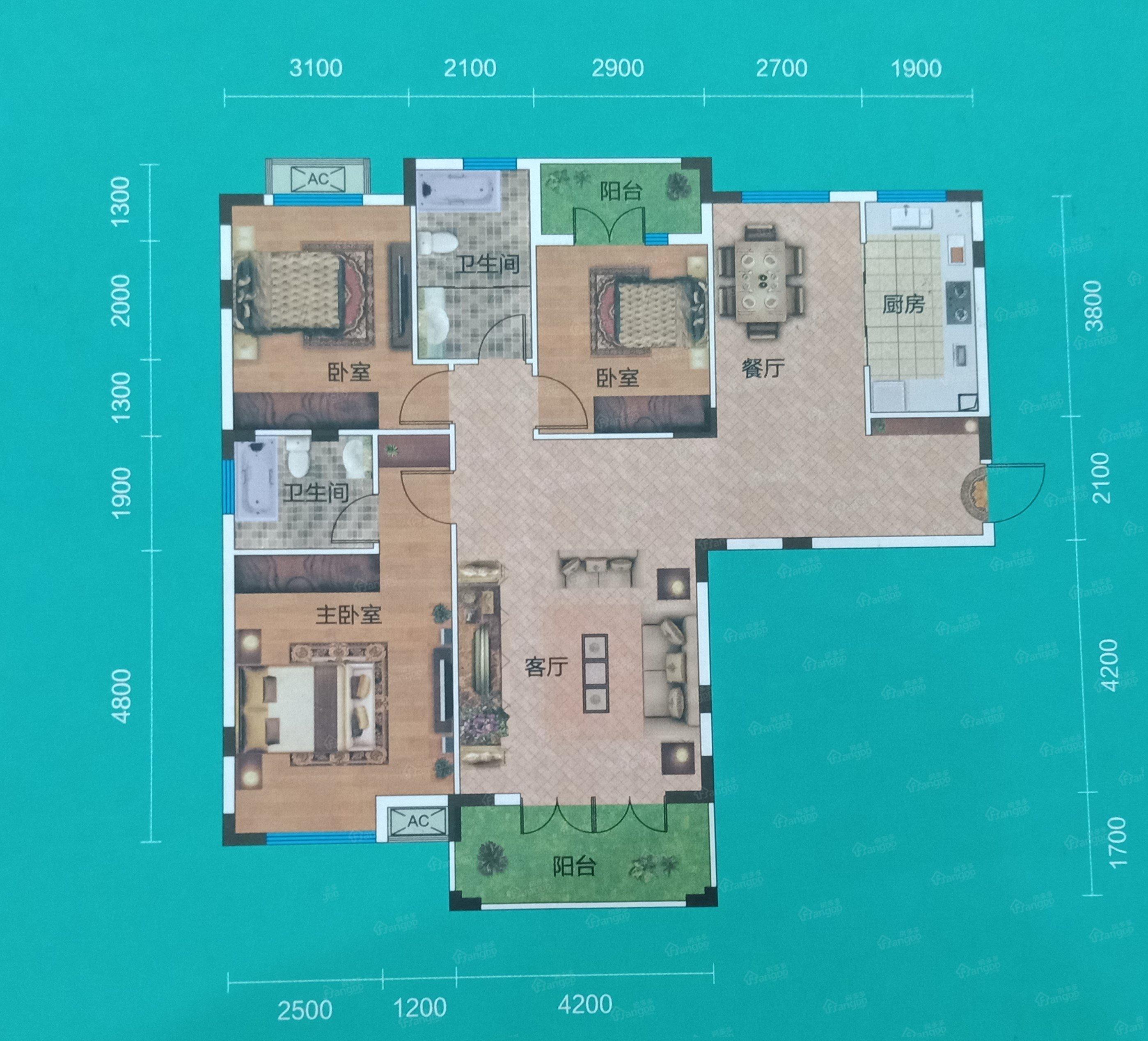 畔山林语3室2厅2卫户型图
