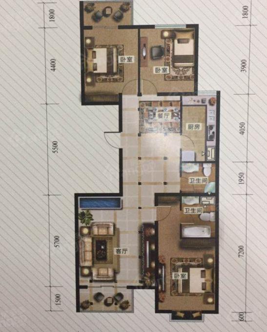 冀东花园3室2厅2卫户型图