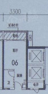 龙光阳光御府1室1卫户型图