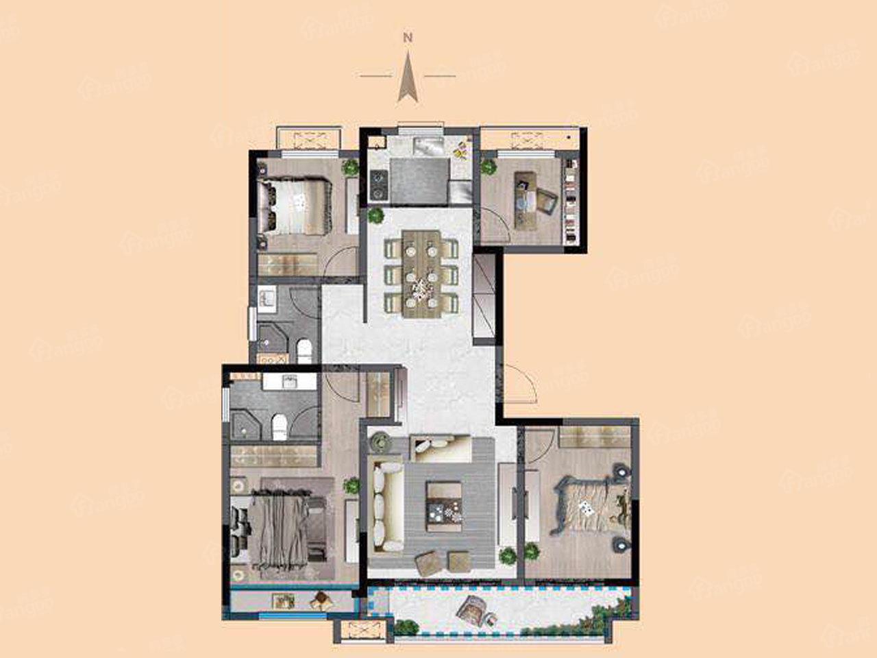 中梁阳光城·壹号院4室2厅2卫户型图