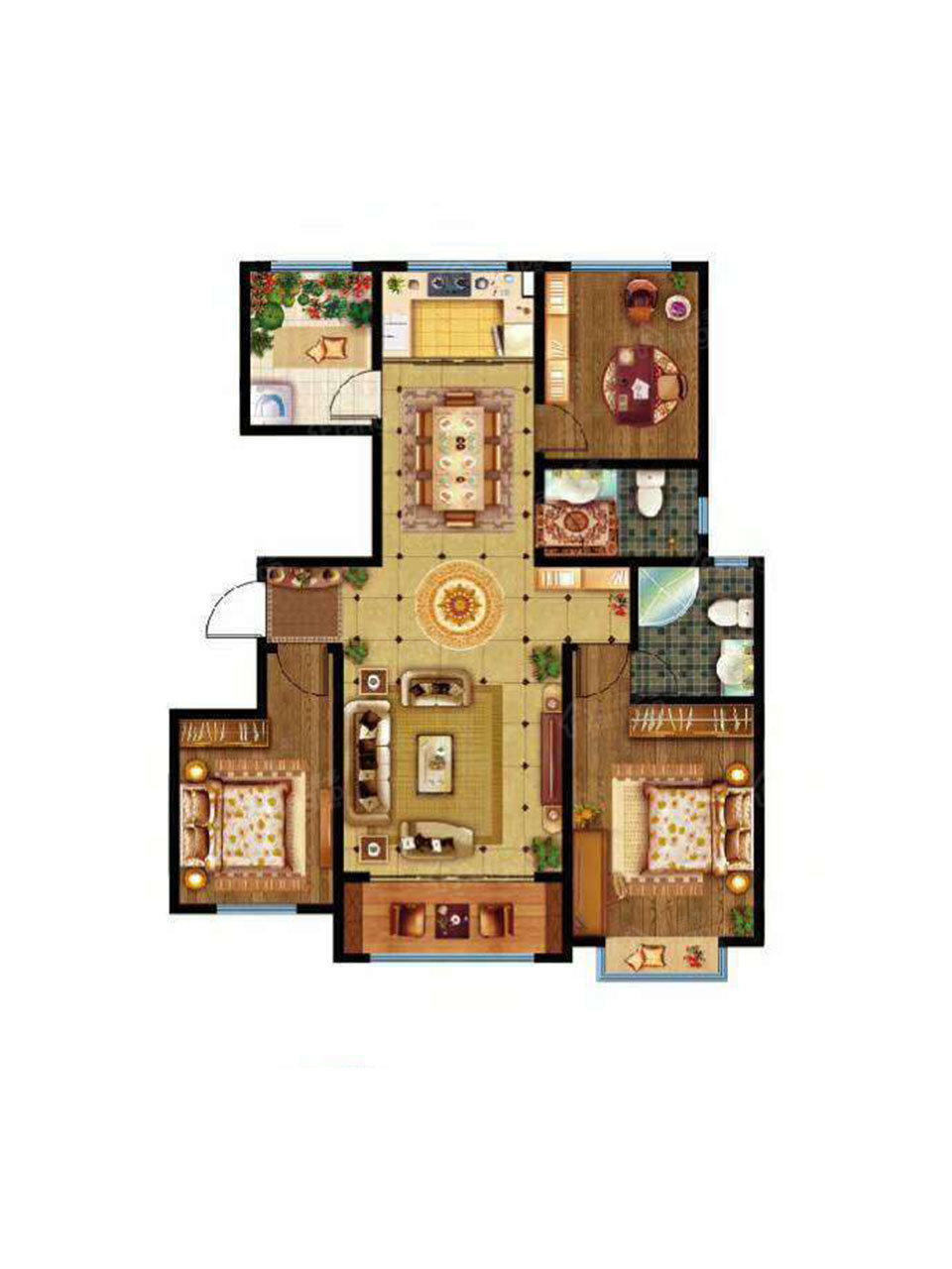 美林山3室2厅2卫户型图