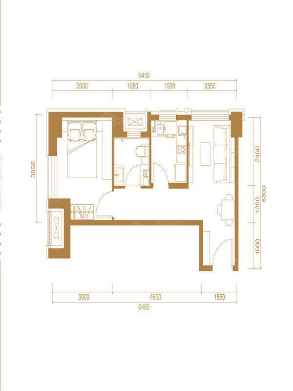 永清融创城1室1厅1卫户型图