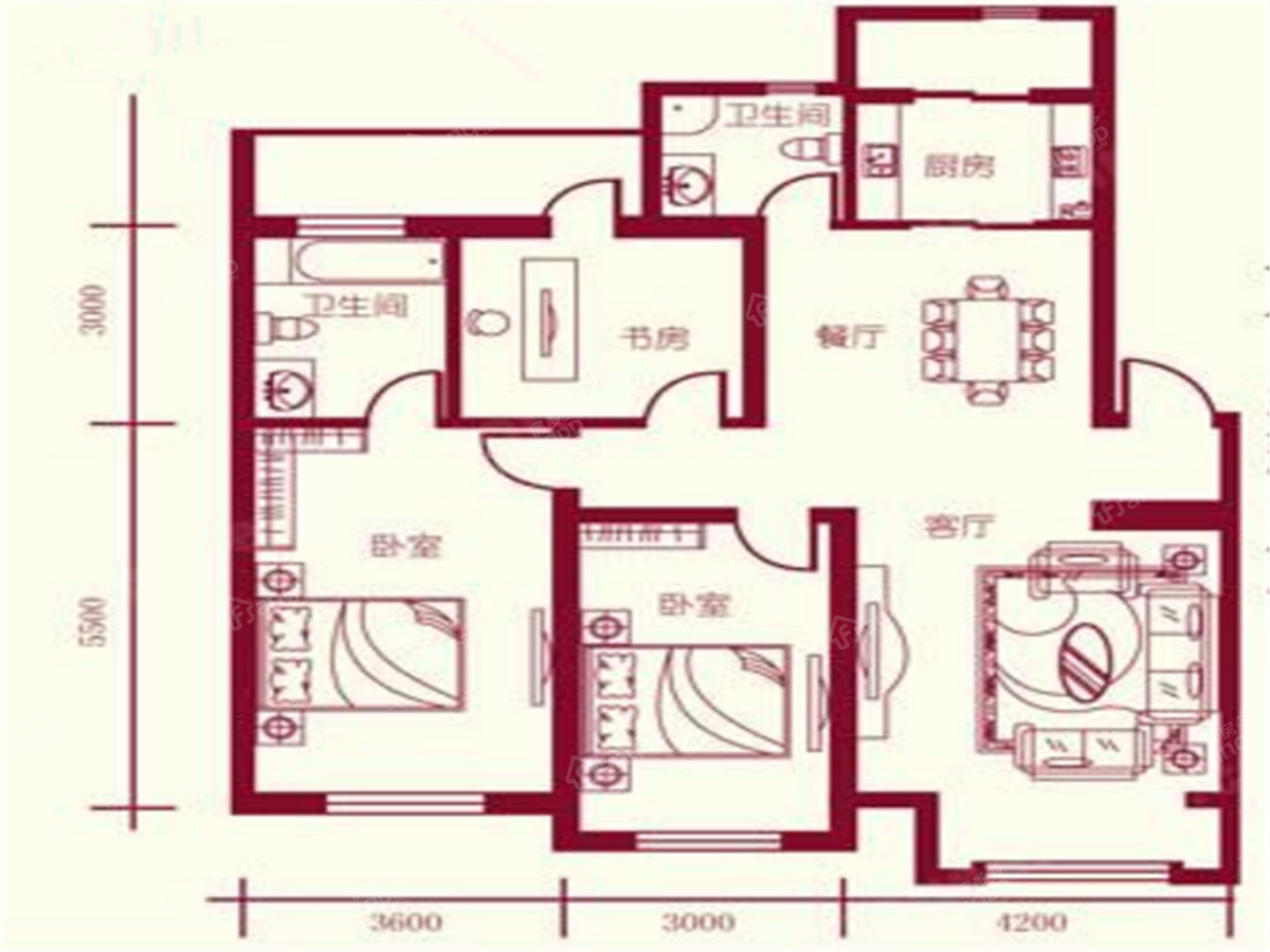保利四方3室2厅2卫户型图