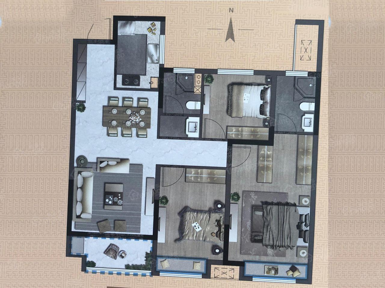中梁阳光城·壹号院3室2厅2卫户型图