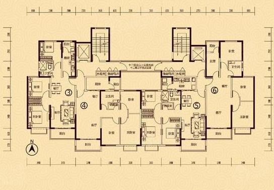 恒大御景3室2厅2卫户型图