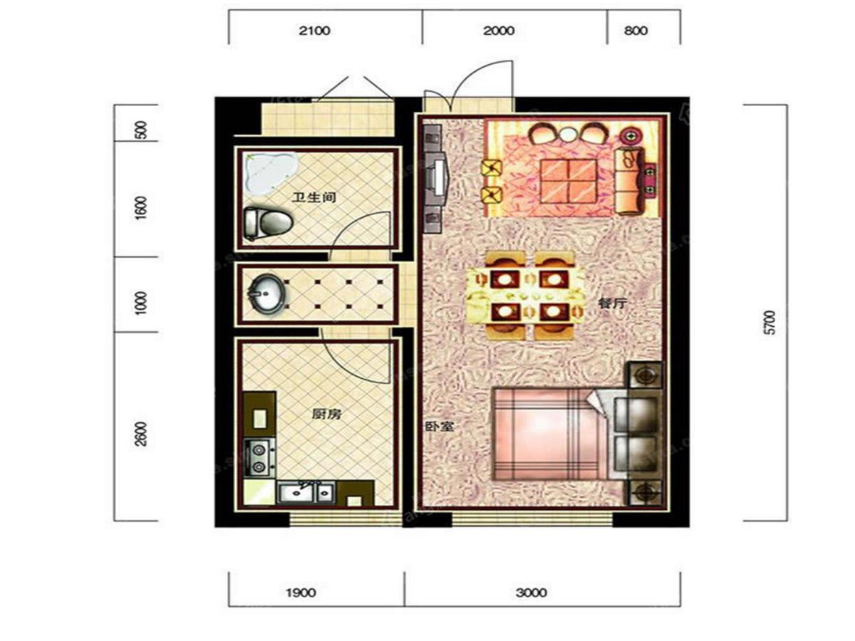 恒威滨江国际1室1厅1卫户型图