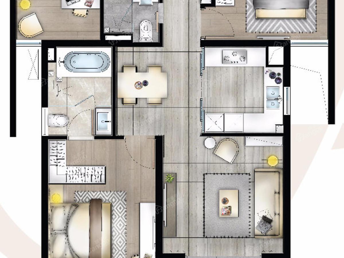 阳明花园3室2厅2卫户型图