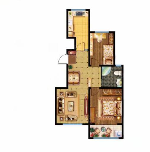 美林山2室2厅1卫户型图
