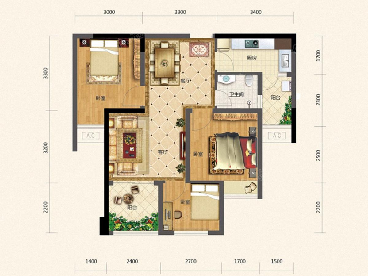 麒龙城市广场3室2厅1卫户型图