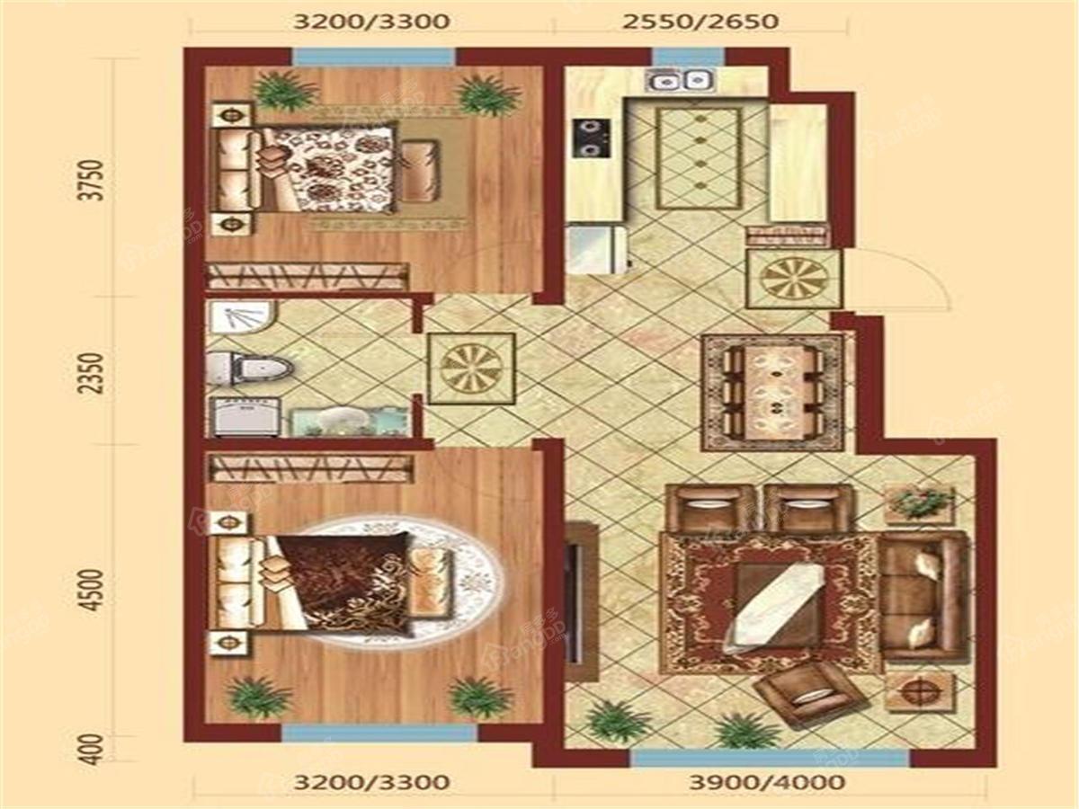 北国明珠2室2厅2卫户型图