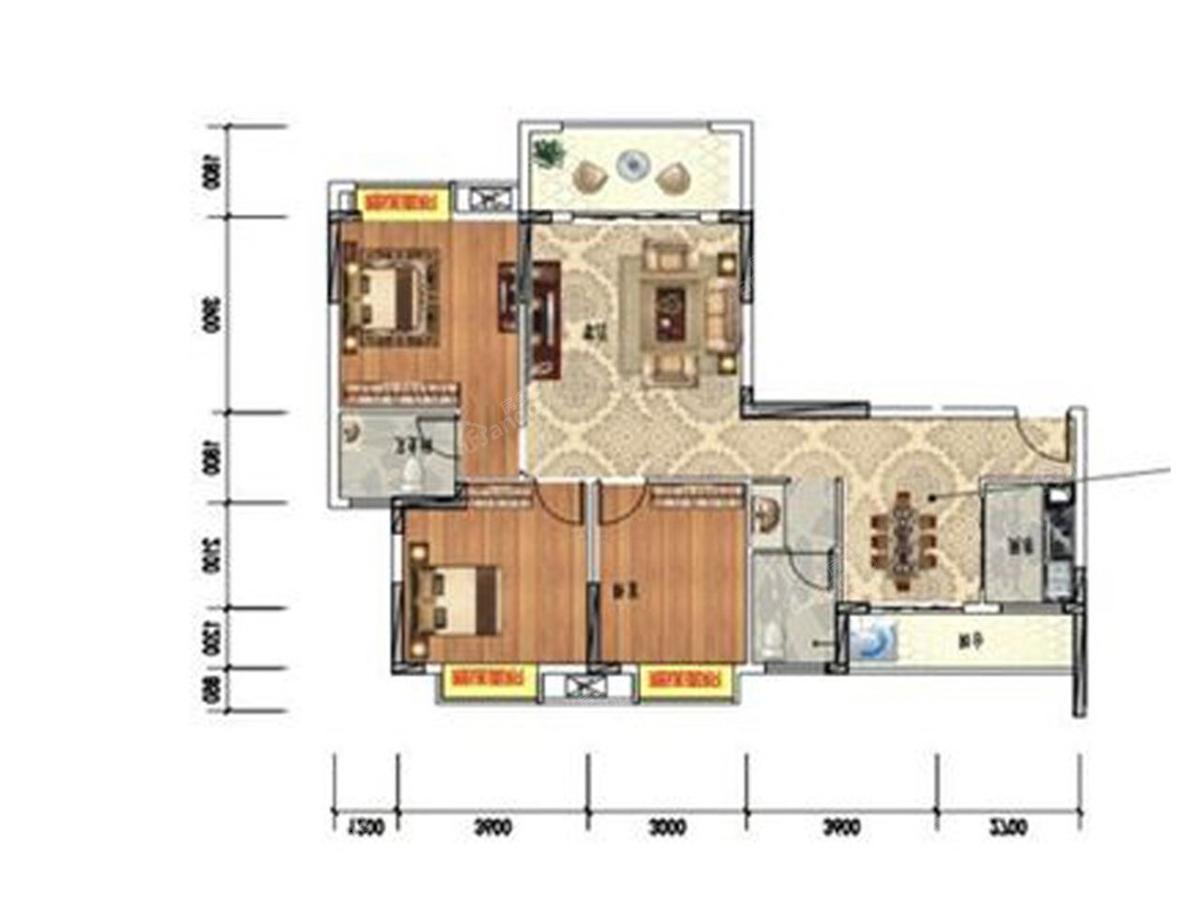 永丰财富家园3室2厅2卫户型图