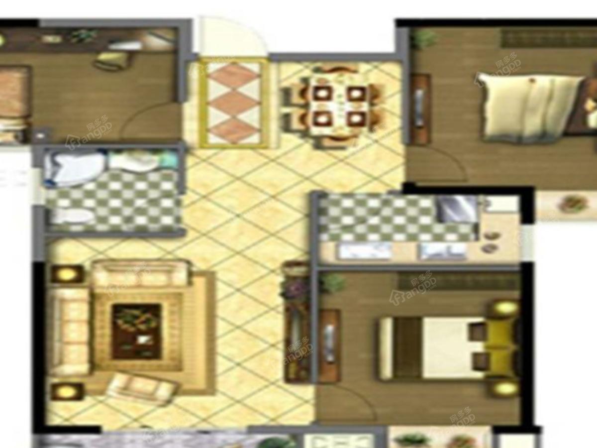 兄弟唐人街3室2厅1卫户型图
