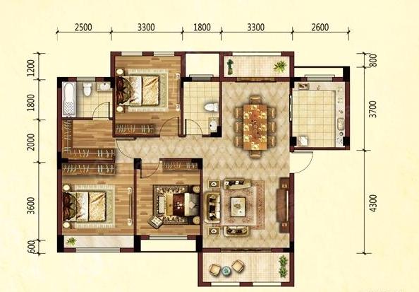 家喻五洲3室2厅2卫户型图