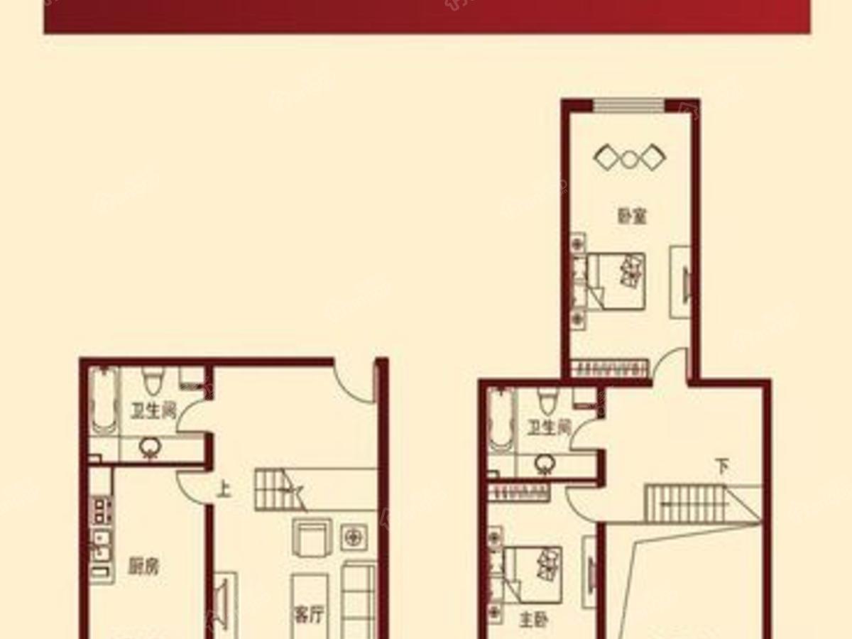 滴道花园2室2厅2卫户型图