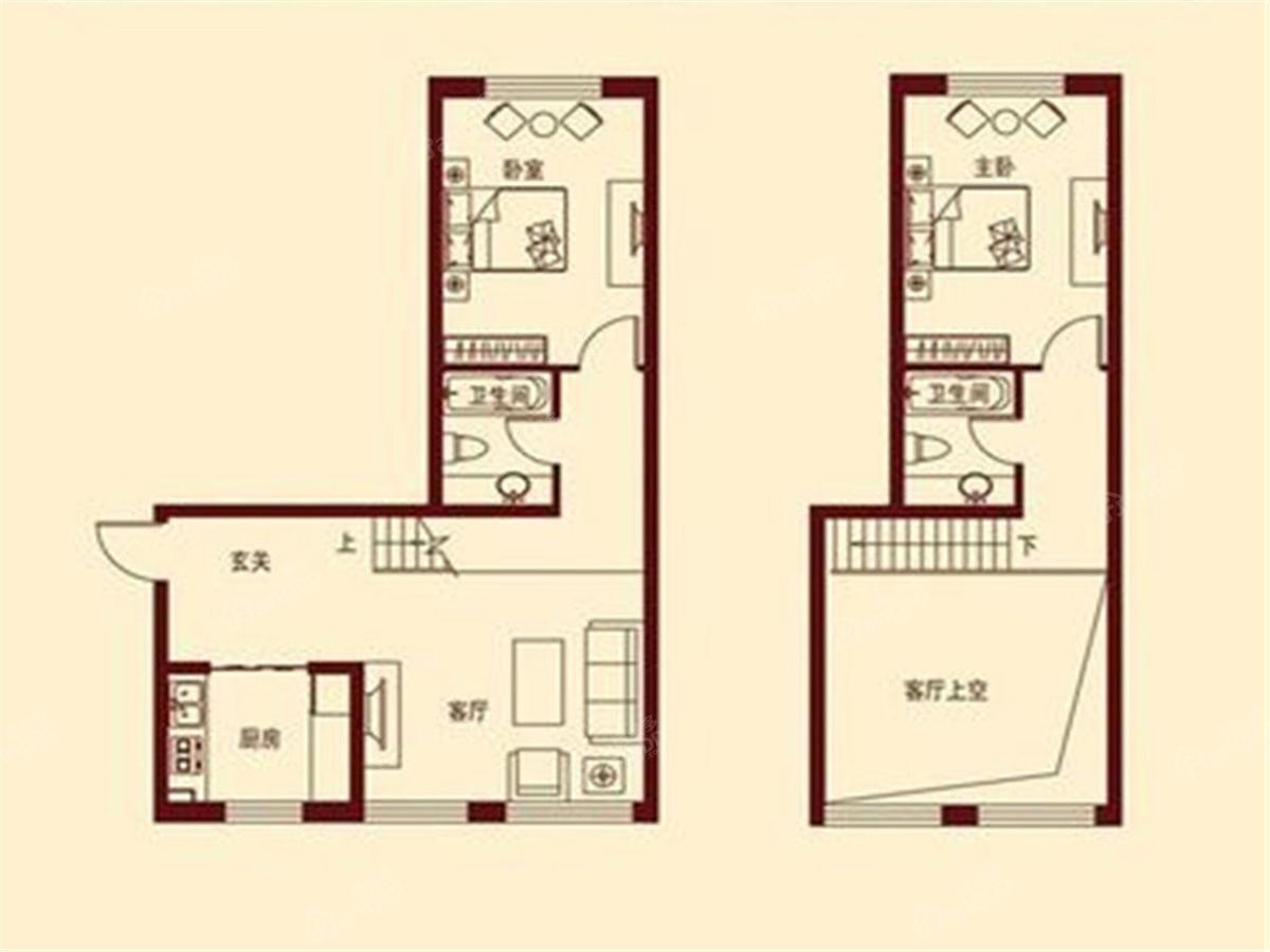 滴道花园2室1厅2卫户型图
