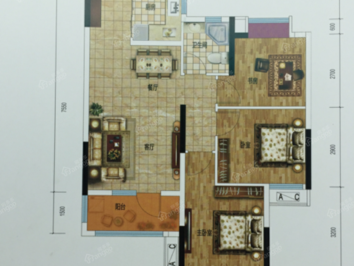 当代满堂悦3室2厅1卫户型图